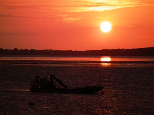 Sunset over the River Vilaine estuary at Trehiguer