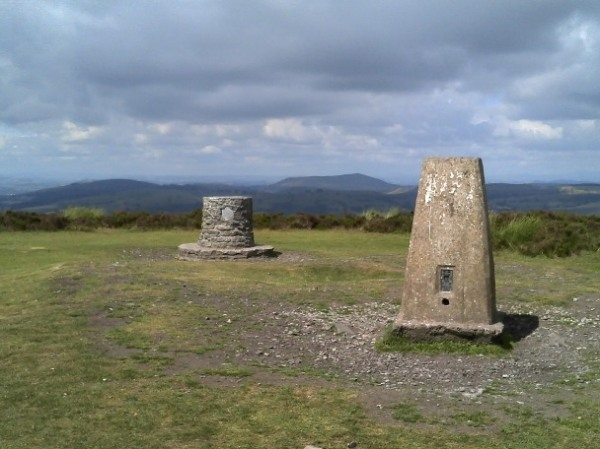 The trig point on Pole Bank, Long Mynd