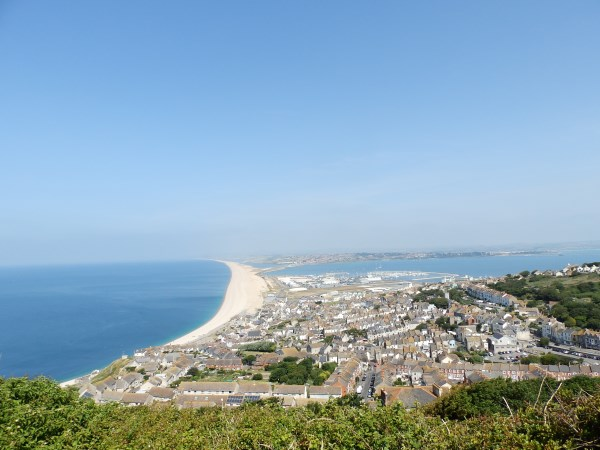 Portland and Chesil Beach taken from Weston, Portland. It's quite a climb up to here!