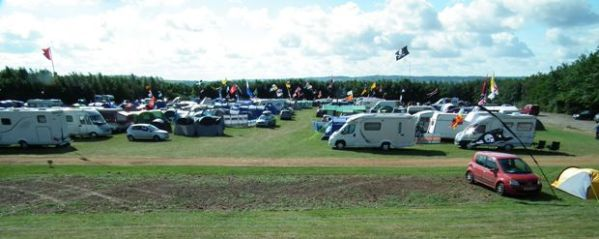 Campsite at British Motor Heritage Museum site at Gaydon, venue for the annual geocaching mega event