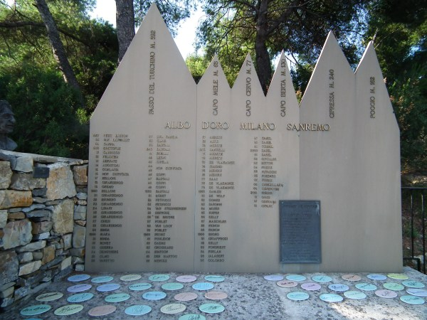 Milan-San Remo monument showing mountain profiles and winners names.